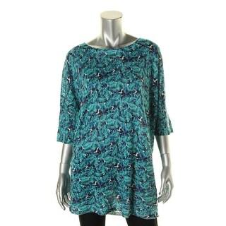 Marina Rinaldi Womens Floral Print Elbow Sleeves Pullover Top