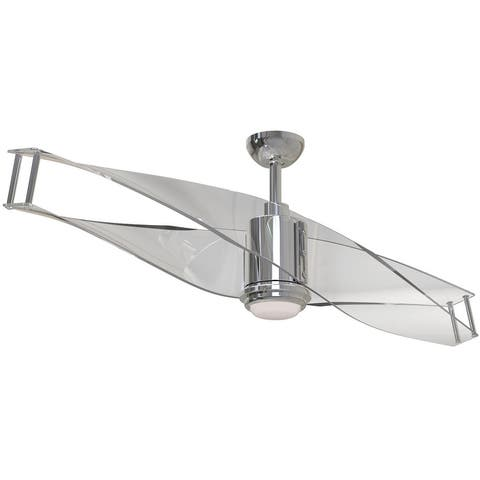 """Craftmade ILU56 Illusion 56"""" 2 Blade Ceiling Fan - Blades, Remote, and LED Light Kit Included - Polished Nickel"""