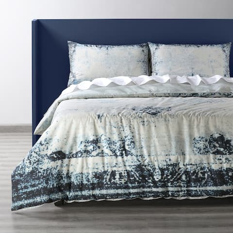 Exclusive Fabrics Bazaar Indigo Cotton Percale Printed Reversible Duvet Cover Set