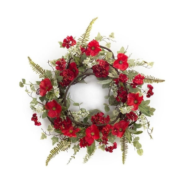 "Pack of 2 Valentines Red Poppy and Geranium Flowers Artificial Wreaths 24"" - Unlit"
