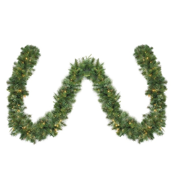 """50' x 14"""" Pre-Lit Cashmere Mixed Pine Commercial Artificial Christmas Garland - Warm White LED Lights - green"""