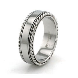 Stainless Steel High Polish Ring w/ Wheat Edge
