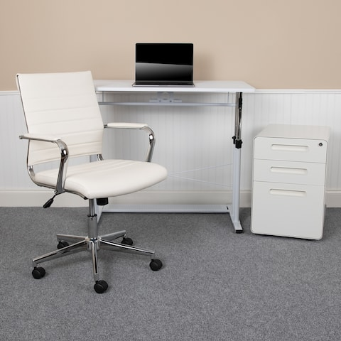 3PC Office Set-Adjustable Desk, LeatherSoft Office Chair, Mobile Filing Cabinet
