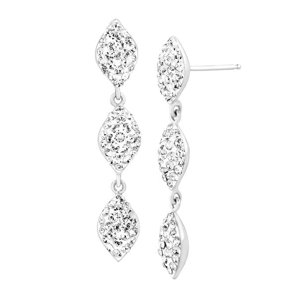 c4183d6f9 Silver Orchid Normand Triple Drop Earrings with Swarovski Crystals in  Sterling Silver - White