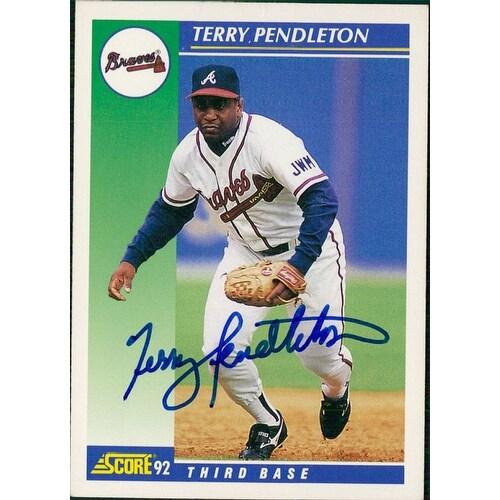 Signed Pendleton Terry Atlanta Braves 1992 Score Baseball Card Autographed
