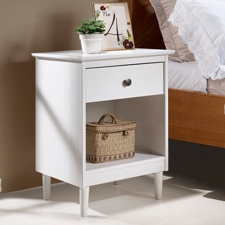 Taylor Olive Bullrushes 1 Drawer Solid Wood Nightstand On Sale Overstock 22536981 White