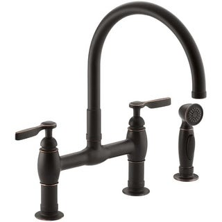 Kohler K-6131-4 Parq Double Handle Bridge Faucet with Sidespray
