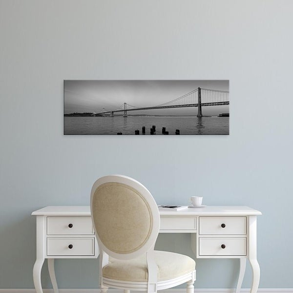 Easy Art Prints Panoramic Image 'Bridge, Pacific ocean, Bay Bridge, San Francisco Bay, California' Canvas Art