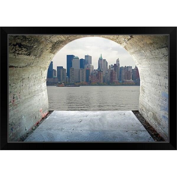 """Manhattan seen through cement tunnel, New York City"" Black Framed Print"