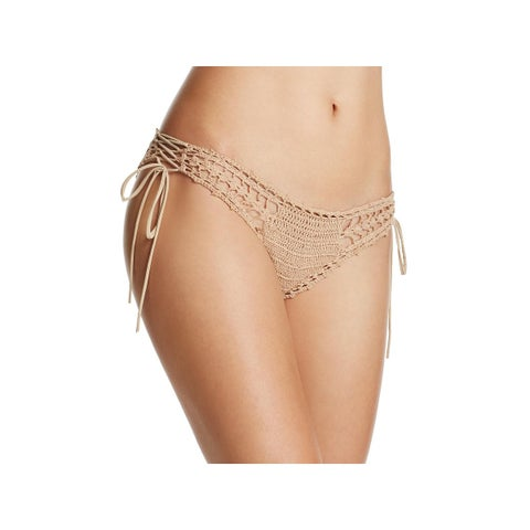Ale by Alessandra Womens Festival Crochet Lace-Up Swim Bottom Separates