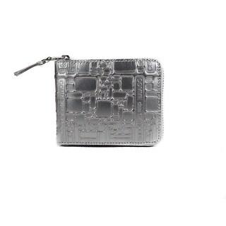 Comme de Garcones Silver Metallic Embossed Zipped Bifold Wallet