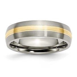 Chisel 14k Gold Inlaid Grooved Brushed and Polished Titanium Ring (6.0 mm)