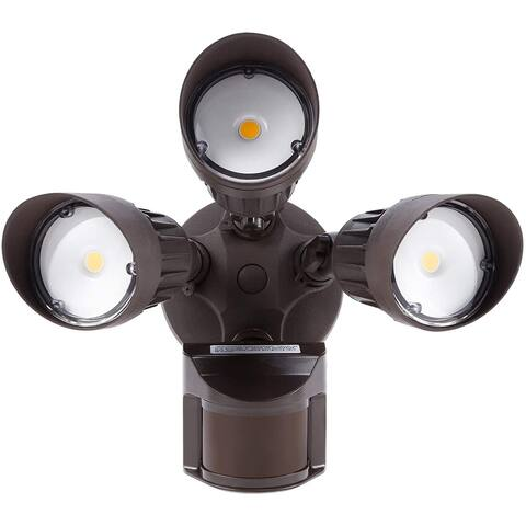 30W 3-Head Motion Activated LED Outdoor Security Light, 3000K/5000K , Bronze