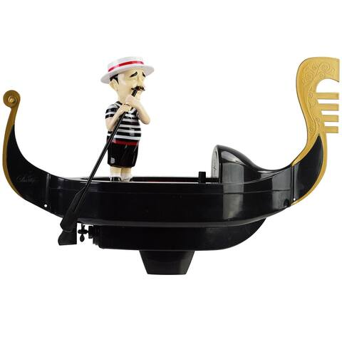 """15"""" Black and White Battery Operated Singing Gondolier Floating Swimming Pool Toy"""
