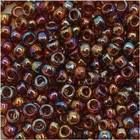 Toho Round Seed Beads 8/0 177 'Transparent Rainbow Smoky Topaz' 8 Gram Tube