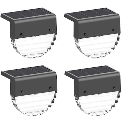 Solar Fence Lights,Outdoor 4 Pack Decorative Solar Deck Lights,, 2 Lighting Modes, Warm White Color Changing