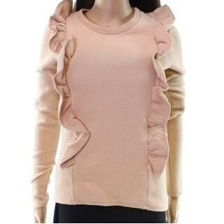 NYTT NEW Beige Women's Small S Ruffled Trim Fleece Crewneck Sweater