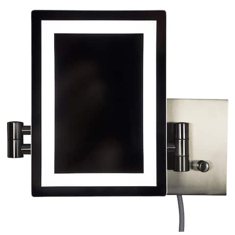 17.44-in. W Rectangle Brass-LED Wall Mount Magnifying Mirror In Brushed Nickel Color - Brushed Nickel