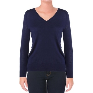 Lauren Ralph Lauren Womens Casual Top Knit Ribbed Trim