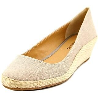 Lucky Brand Tilly Women Open Toe Canvas Tan Wedge Heel