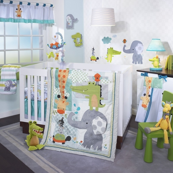 Lambs & Ivy Yoo-Hoo Blue/Gray/Green Alligator, Elephant & Giraffe Nursery 4-Piece Baby Crib Bedding Set