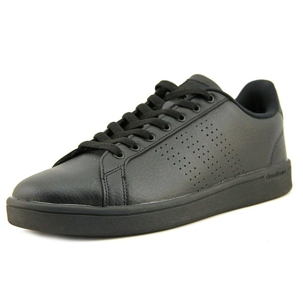 Adidas Cloudfoam Advantage Clean Men Round Toe Leather Black Sneakers