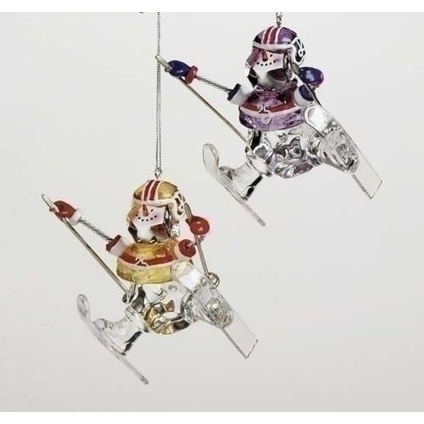 Set of 4 Assorted Football Player Snowmen Skiing Christmas Ornaments #27234B
