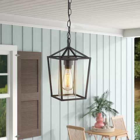 Emlivar 1-light Black Metal/ Glass Outdoor pendant light