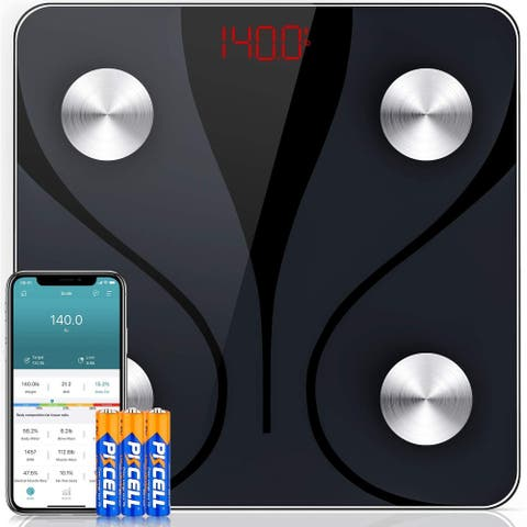 Digital Bathroom Body Weight Scale Body Fat Scale , Bluetooth Scales Machine Wireless Body Composition Analyzer400 lbs - Black