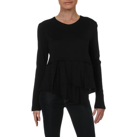 Wilt Womens Pullover Top Layered Ribbed Trim - S