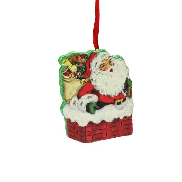 "3.5"" Decorative Retro Santa in Chimney Wooden Christmas Ornament - RED"