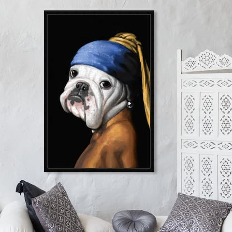 Oliver Gal 'Carson Kressley - Dog With the Pearl Earring' Classic and Figurative Framed Wall Art Prints Classic - Black, Blue