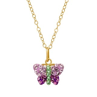 Crystaluxe Butterfly Pendant with Swarovski Crystals in 14K Gold-Plated Sterling Silver - Multi-Color