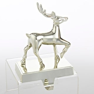 "8"" Shiny Silver Deer Stocking Holder Christmas Decoration"
