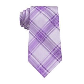 Calvin Klein Icicle Plaid Slim Silk Neck Tie Light Purple