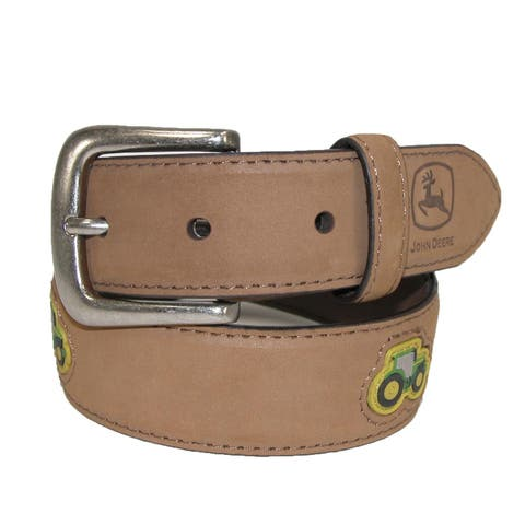 John Deere Kids' Crazy Horse Leather Belt with Tractor Patches