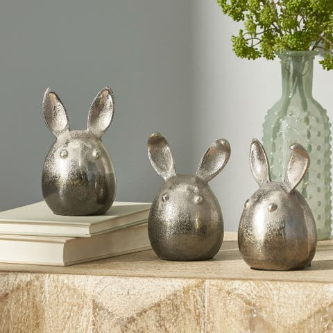"""Derwent Indoor Aluminum Handcrafted Bunny Figurines by Christopher Knight Home - 3.25"""" L x 3.25"""" W x 5.00"""" H"""