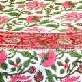 Handmade Lotus Flower Block Print 100% Cotton Tablecloth Red 60x60 Square 60x90 REctangle 72 Inch Round - 60 x 90 inches - Thumbnail 5