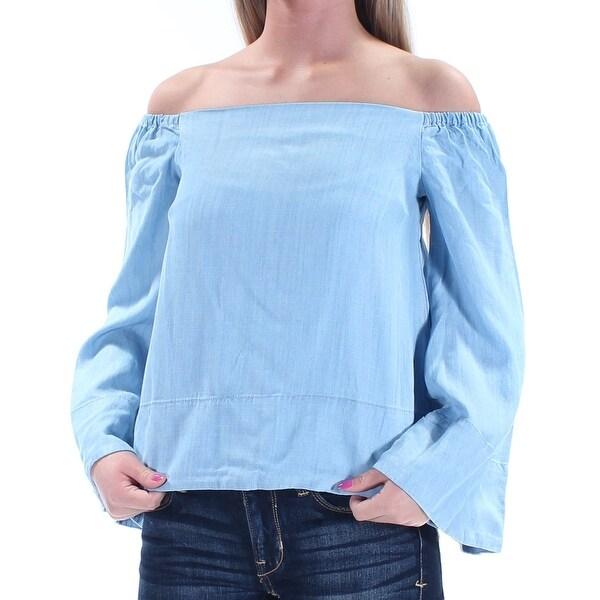 5da9e04f90e07 RACHEL ROY  495 Womens New 1307 Light Blue Off Shoulder Kimono Sleeve Top  XS B+