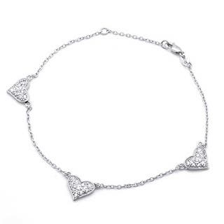 Bling Jewelry Pave Cz Three Heart 925 Sterling Silver Chain Anklet 8 5in