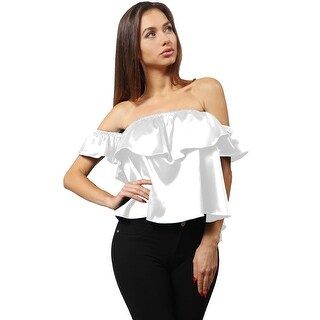 NE PEOPLE Women's Luminous Satin Ruffled Off Shoulder Blouse Top