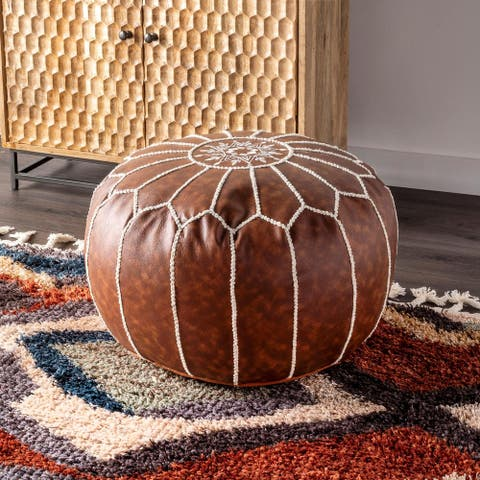 nuLOOM Classic Moroccan Lightweight Faux Leather Ottoman Pouf