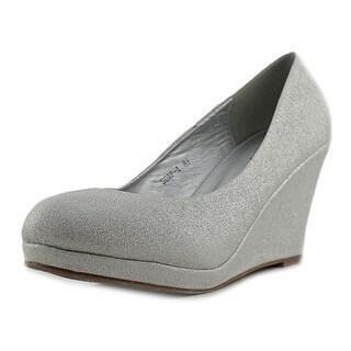 Top Moda Soap-1 Women Open Toe Leather Silver Wedge Heel