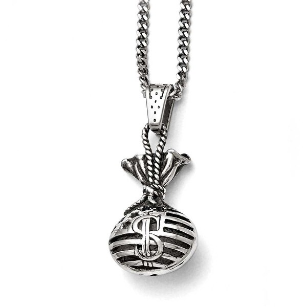 Chisel Stainless Steel Polished and Antiqued Money Bag Necklace - 22 in