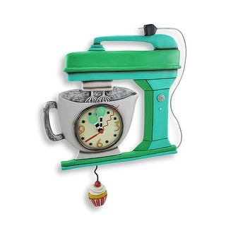 Allen Designs Green Vintage Kitchen Mixer Wall Clock with Cupcake Pendulum