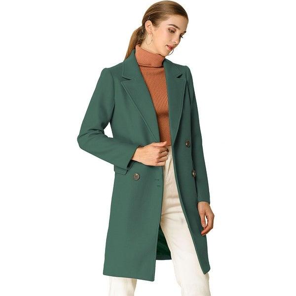 Women Notch Lapel Double Breasted Belted Mid Long Outwear Winter Coat. Opens flyout.