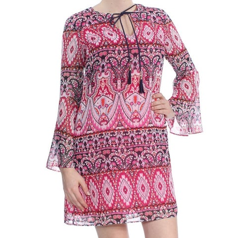 VINCE CAMUTO Womens Pink Tile Print Bell Sleeve Keyhole Above The Knee Party Dress Size: 8