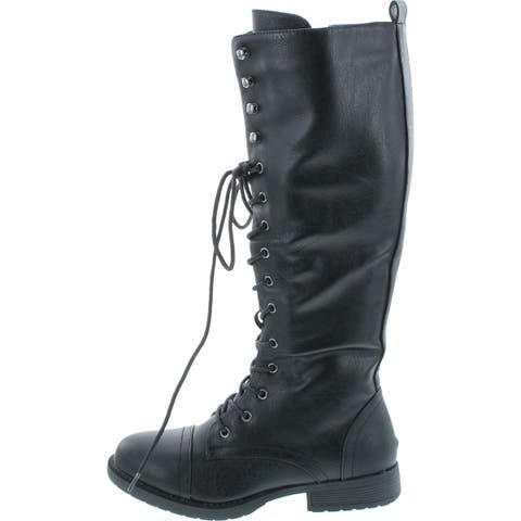 Nature Breeze Madge 02Kh Womens Knee High Lace Up Combat Boots - Black Pu