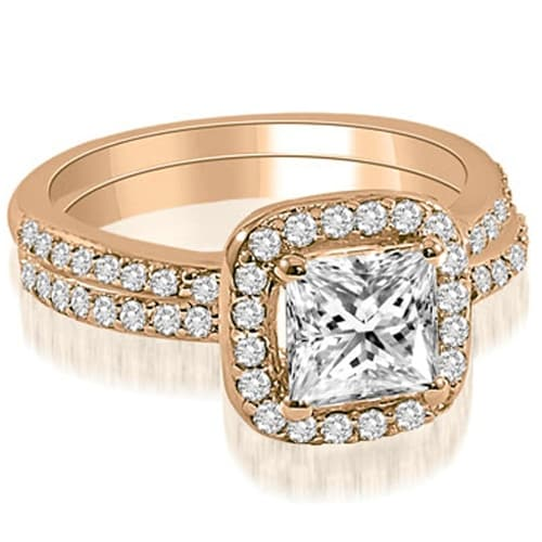 1.60 cttw. 14K Rose Gold Princess Cut Halo Diamond Bridal Set