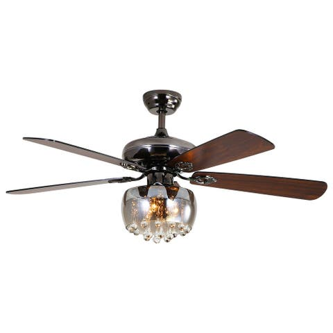 52 inch Modern Crystal Ceiling Fan Lamp 5 Reversible Wood Blades 3 Speeds Remote Control - N/A